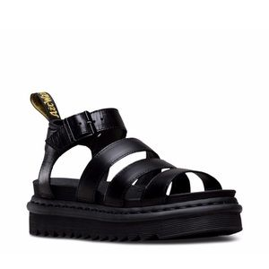 Dr Martens Black Leather Gladiator Blaire Sandals